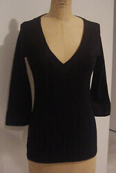 Three Dots Womens BLACK 34 Sleeve Cotton Poplin Trim Top Tee Size Medium NEW