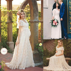 Pregnant Women Lace Floral Long Maxi Beach Dress Maternity Gown Photography Prop $19.77
