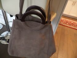 NWT Latest SEZANE Sac Paolo taupe color tote leather bag w wooden handle ITALY