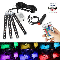 4PCS RGB LED Car Interior Light Strips Flashing Color Decor Floor Remote Control $14.99