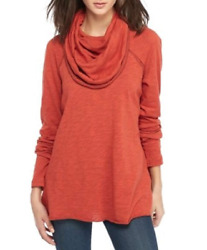 NEW Free People FP Beach Women Cocoon Funnel Cowl Neck Pullover Top Rusty Orange