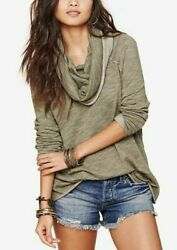 NEW Free People FP Beach Women Cocoon Funnel Cowl Neck Pullover Tunic Top Green