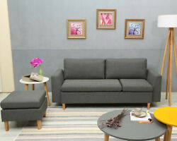 Sofa with Ottoman Small Sectional Sofa L-shaped couch with Reversible Chaise
