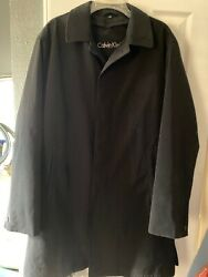 Calvin Klein Mens Black Trench Coat 42 R Zip Out Lining