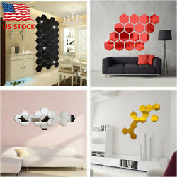12Pcs 3D Hexagon Acrylic Mirror Wall Stickers DIY Art Wall Decor Stickers US $6.49