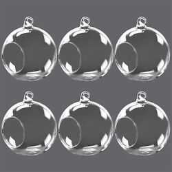 6pcs Flower Hanging Glass Ball Vase Air Plant Terrarium Container Candle Holders