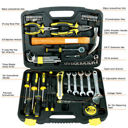US STOCK 61-Piece Homeowner General Portable Repair Hand Tools Kit with Tool Box $37.33