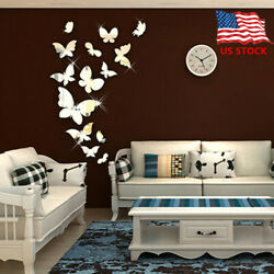Shiny Butterfly 3D Mirror Wall Sticker Wall Decals Removable Modern Home Decor $6.99
