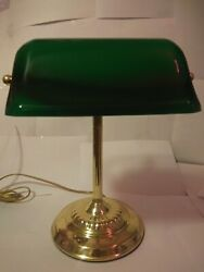 Vintage Brass Bankers Desk Lamp With Emerald Glass Shade