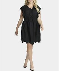 Jessica Simpson Trendy Plus Size Cotton Tummy Control Schiffli Dress 3X $89.50 $34.99