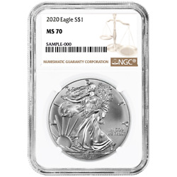 2020 $1 American Silver Eagle NGC MS70 Brown Label $46.10
