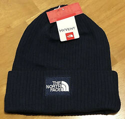 NWT MEN'S THE NORTH FACE HYVENT LOGO FLEECE LINED RIBBED BEANIE HAT OS BLUE  $30.00