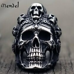 MENDEL Stainless Steel Big Mens Gothic Biker Skull Ring For Men Silver Size 8 15