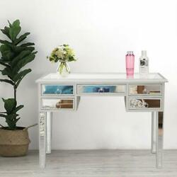 Mirrored Vanity Table Silver Finish Living Room Accent Bedroom Makeup Table $230.99