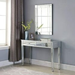 Modern 2 Drawers Mirrored Console Table Silver Bedroom Vanity Table Furniture $180.99