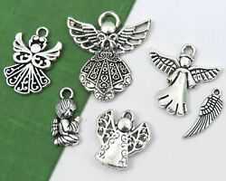 6 ANGEL Charms Tibetan Antique Silver Mixed Religious Charm Collection Set Lot $3.99