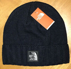 NWT MEN'S THE NORTH FACE HYVENT LOGO FLEECE LINED KNIT BEANIE HAT OS DARK BLUE  $30.00