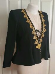 MARGI KENT designer for Stevie Nicks Black Gold Embellished Crop Bolero Jacket