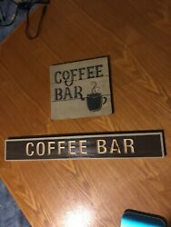 Pair Of Coffee Themed Wooden Home Decor Wall Hangers Signs $14.95