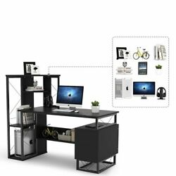 Home Office Compact Workstation Desk with Corner Tower Shelves and Two Drawers