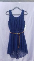 Love Reign Blue Lace Dress With Tan belt and Train Size Medium $9.99