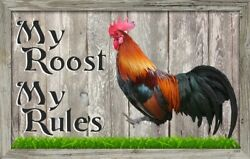 Rooster#x27;s Rules Sign Plaque Gift Chickens Roost Coop Farm Country Wall decor $14.99