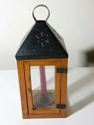 DECORATIVE ONLY PUNCHED TIN LANTERN WITH WOOD amp; GLASS SIDES AND BASE $18.25