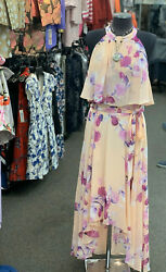 ELIZA J LONG CHIFFON DRESS SIZE 18W NEW WITH TAG RETAIL$179 LINED HIGH LOW