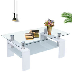 Modern Glass Coffee Table Shelf Wood Living Room Furniture Rectangular White USA $79.59