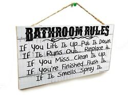 White Rustic Bathroom Rules If It Smells Spray It Sign Plaque 5quot;x10#x27; $13.99