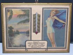 1940's Advertising Desk Thermometer Bathing Suit Pinup Girl Wallingford Conn.
