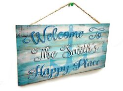 Personalized Welcome To The quot;Your Family Namesquot; Happy Place Beach 5quot;x10quot; Sign $13.99