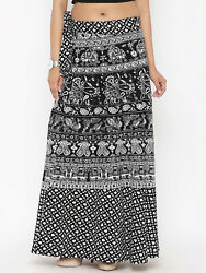 Black amp; White Ethnic Print Wrap Maxi Skirt Casual Party Wear Long Dress $19.49