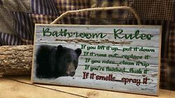 Black Bear Bathroom Rules Rustic Cabin Lodge 5quot; x 10quot; Bath SIGN Plaque $12.99