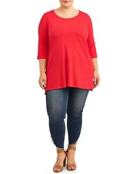 NWT Terra amp; Sky Scoop Neck Tee Tunic T Shirt Shirt Top Red Plus Size 5X $12.99