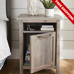 Bedside USB Table Nightstand Organizer with Cabinet Storage End Accent Furniture $146.83
