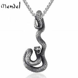 MENDEL Vintage Stainless Steel Mens Zodiac Serpent Snake Pendant Necklace Men $11.99