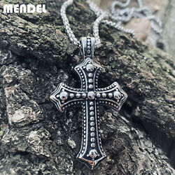 MENDEL Mens Biker Catholic Cross Pendant Necklace For Men Ashes Stainless Steel $11.99