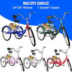 Foldable Adult Tricycle 24'' 26'' Wheels Adult Folding Tricycle 1/7 Speed Bike $319.00