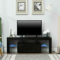 Modern Black TV Stand Unit Cabinet w LED Light 2 Drawers Console Table RC $130.90