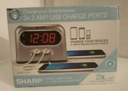 Sharp Digital Alarm Clock Time 2X 2 Amp USB Charge Ports Charger Fast Charging $21.99