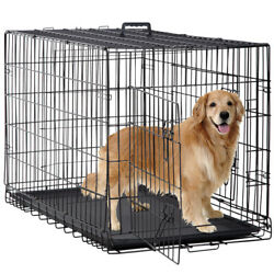 New Dog Crate Cage Extra Folding Large Double Door Pet Crate w Divideramp;Tray48quot; $64.99