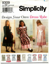 Simplicity 9309 Girls Plus Dresses Sewing Pattern Size 8 1 2 16 1 2 Uncut $7.99