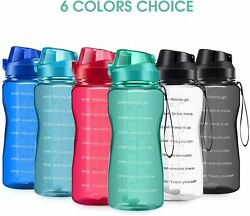 64oz Motivational Water Bottle with Straw and Time Marker Leakproof BPA Free $17.50
