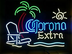 New Corona Extra Beach Chair and PalmTree Neon Sign 17quot;x14quot; Decor Lamp Display $125.59
