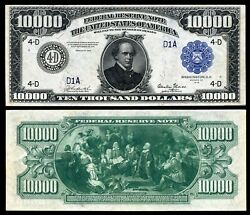 Reproduction US $10000 Dollar Bill Series 1918 Large size with BLUE seal $14.95