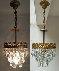 Matching Pair of Vintage Brass amp; Crystals French Small Chandelier Lamp GBP 325.00