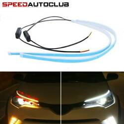 2 x 60CM LED DRL Light Amber Sequential Flexible Turn Signal Strip For Headlight $10.99