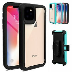 For iPhone 11 Pro Max 12 Pro 11 Case Hybrid Heavy Duty Clear Belt Clip Cover $7.68