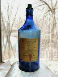 RARE ANTIQUE BANKERS PERMANENT INK 32 FL OZ BLUE GLASS BOTTLE AMERICAN INK CO $16.99